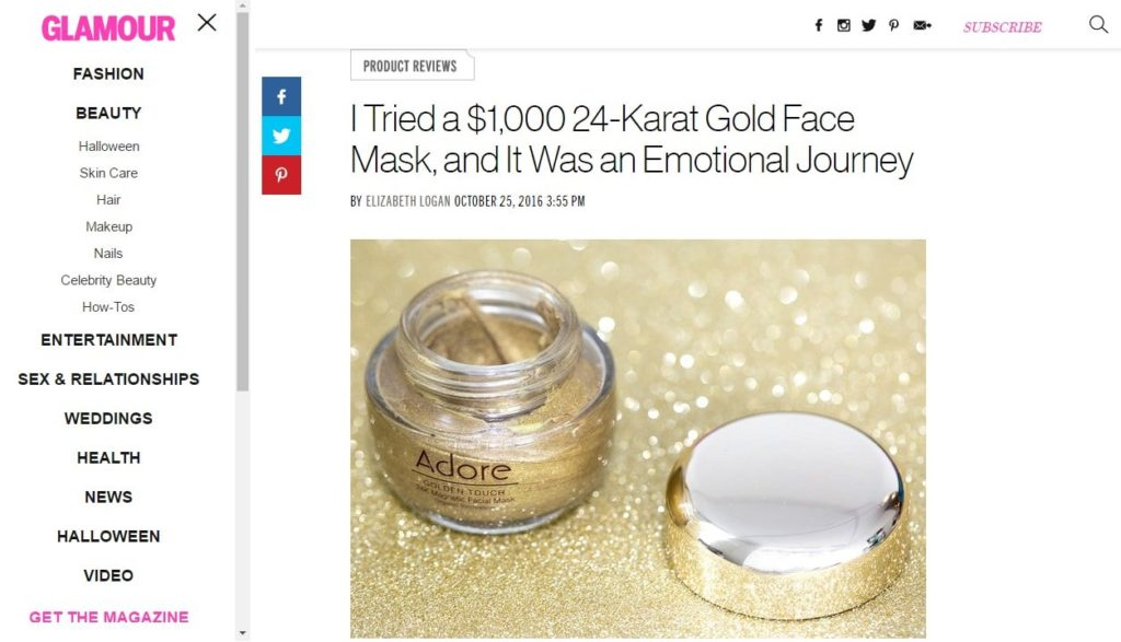 Adore Cosmetics Gold Mask